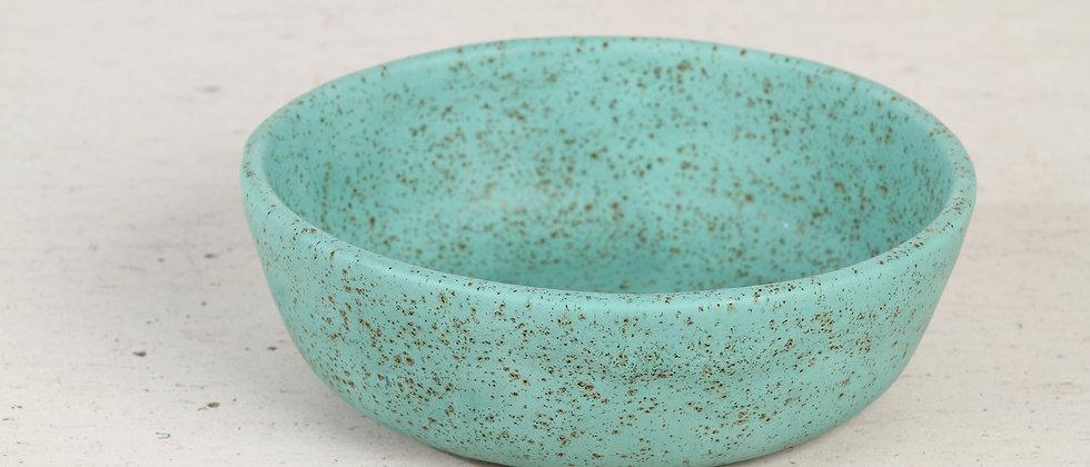 Turquoise handmade ceramic cat bowl
