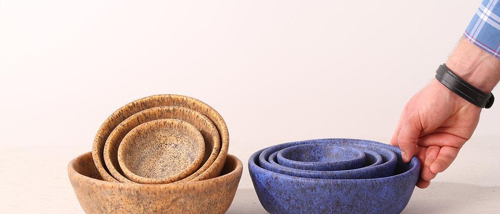 Matte blue handmade ceramic dog bowl