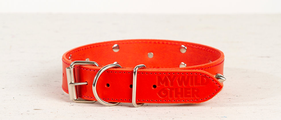 Full-grain, red, studded & spiked leather dog collar