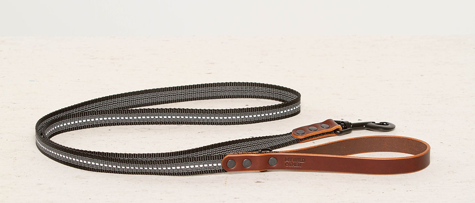 Reflective, rubber covered brown leather dog leash