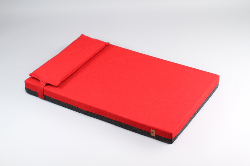 2-sided! Wool upholstered, orthopedic dog bed. Dark grey and red