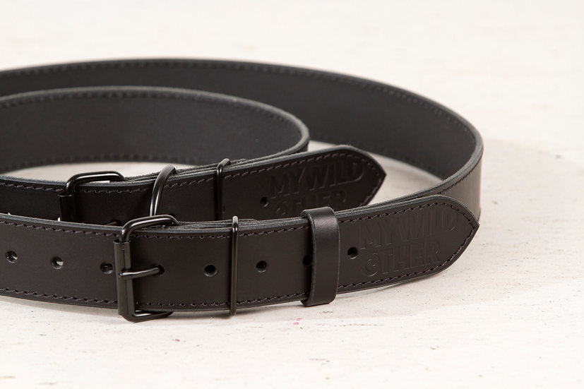 Bundle. Full grain, black leather dog collar and matching belt