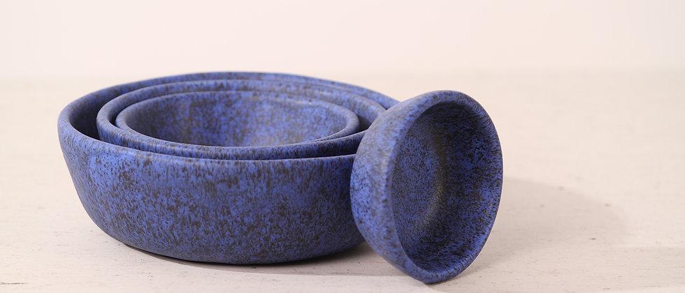 Pair of matte blue handmade ceramic dog bowls