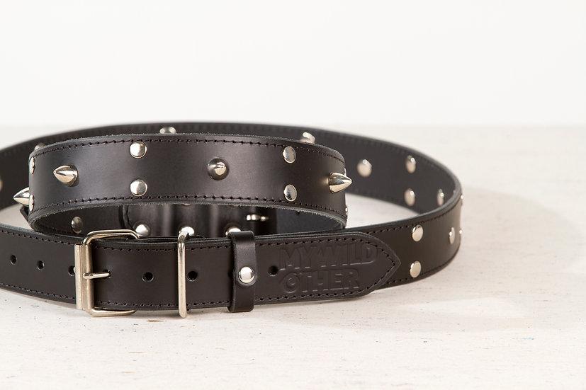 Bundle. Full grain, studded & spiked black leather dog collar and belt