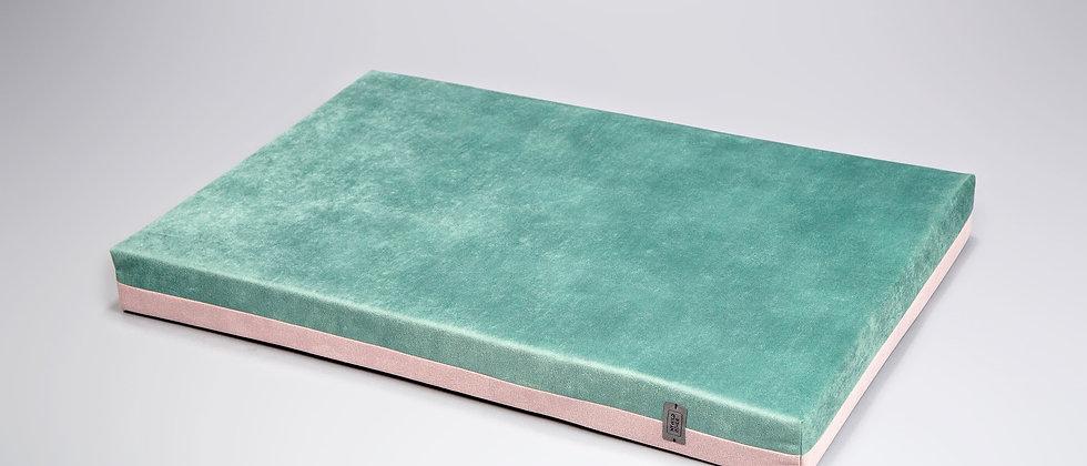 2-sided! Velvet-look, orthopedic dog bed. Mint/flamingo pink, easy clean