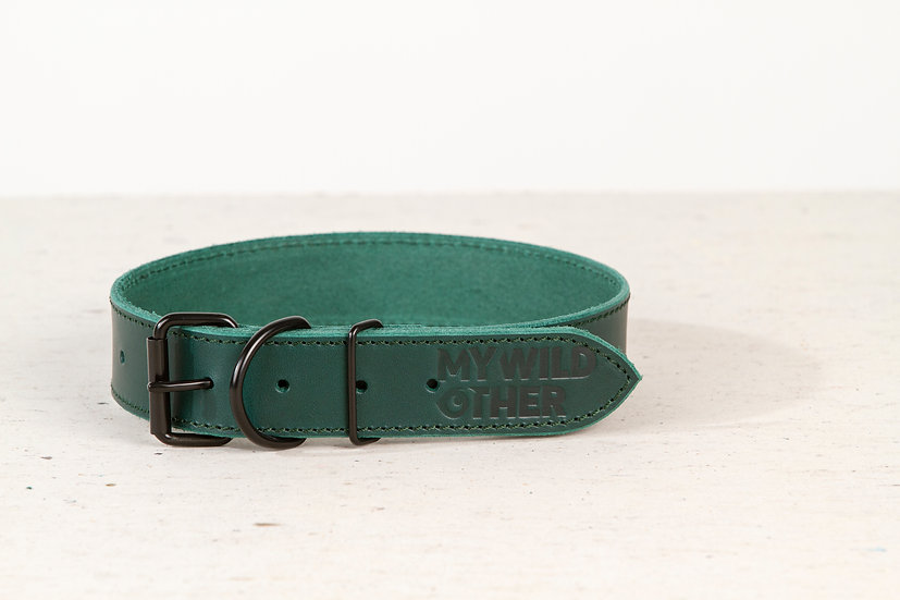 Full-grain, green leather dog collar