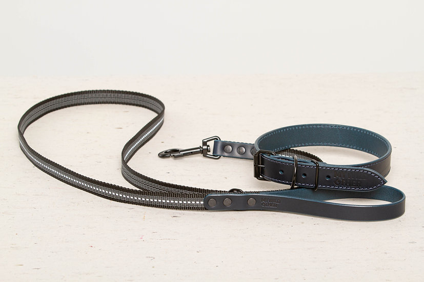 Bundle. Full-grain, blue leather dog collar and matching leash