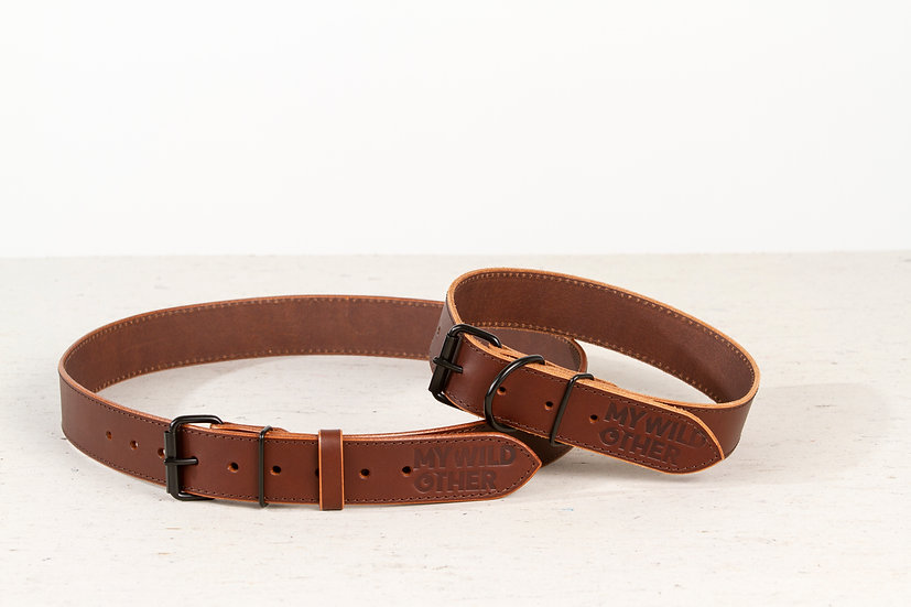 Bundle. Full grain, brown leather dog collar and matching belt