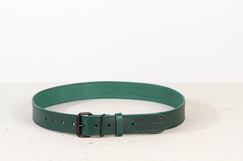 Human's belt black on green
