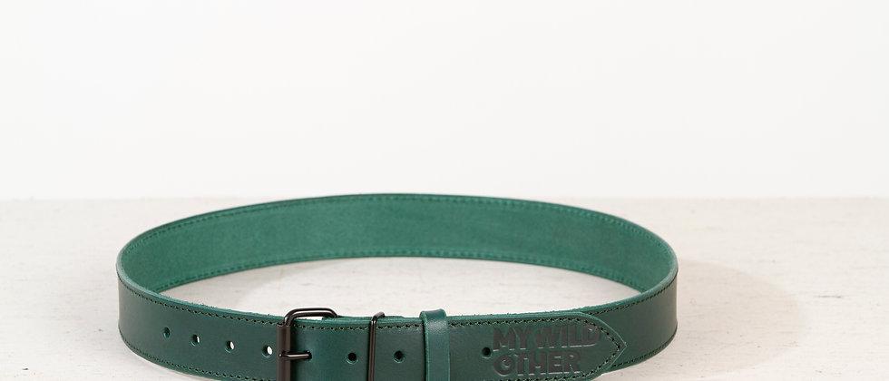 Human's belt black on green