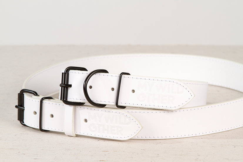 Bundle. Full grain, white leather dog collar and matching belt