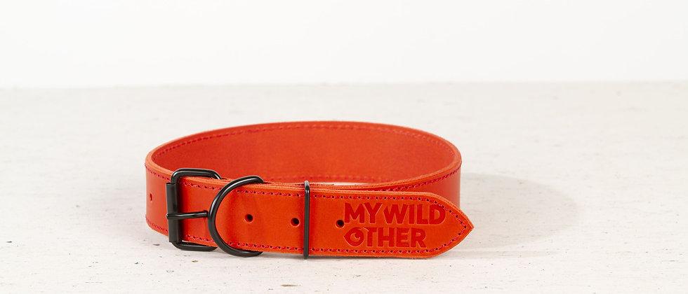 Full-grain, red leather dog collar