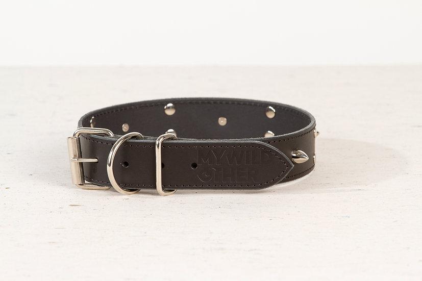 Full-grain, black, studded & spiked leather dog collar