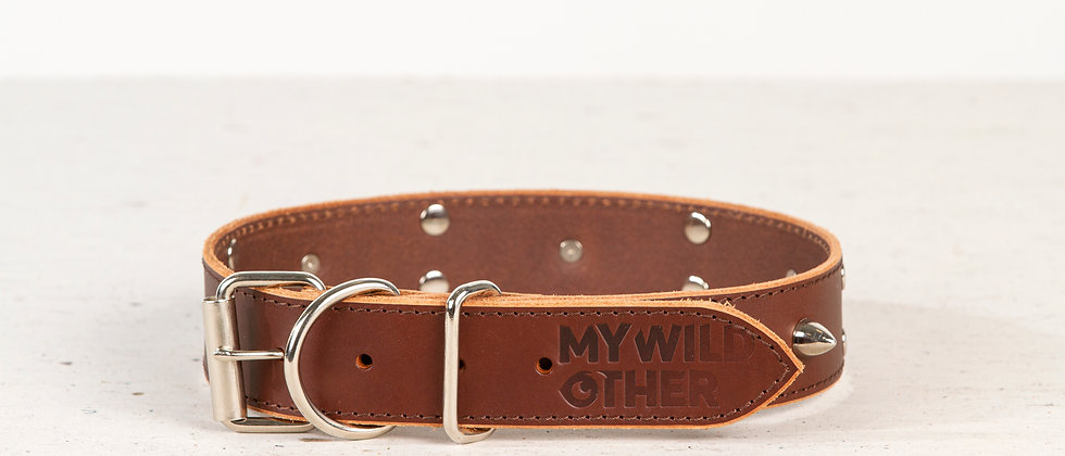 Full-grain, brown, studded & spiked leather dog collar