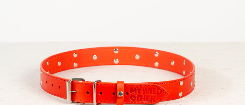 Human's belt spikes on red