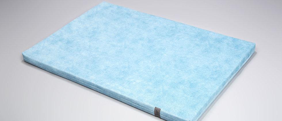 Velvet-look upholstered, orthopedic dog travel, crate mat. Arctic blue