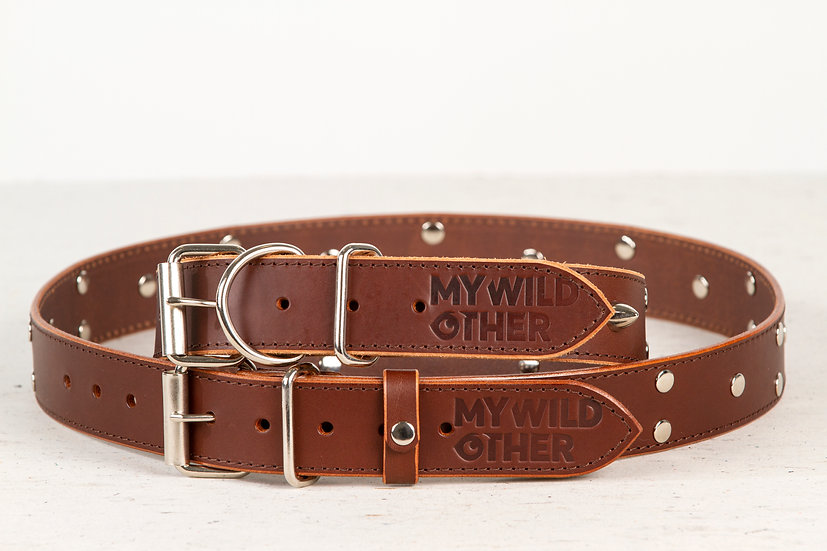 Bundle. Full grain, studded & spiked brown leather dog collar and belt