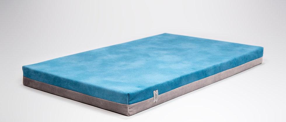 2-sided! Velvet-look, orthopedic dog bed. Sapphire blue/fog grey, easy clean