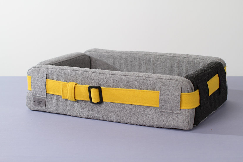 Woolen grey orthopedic dog bed with funky belt