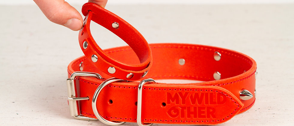 Bundle. Full grain, studded & spiked leather dog collar and wristband