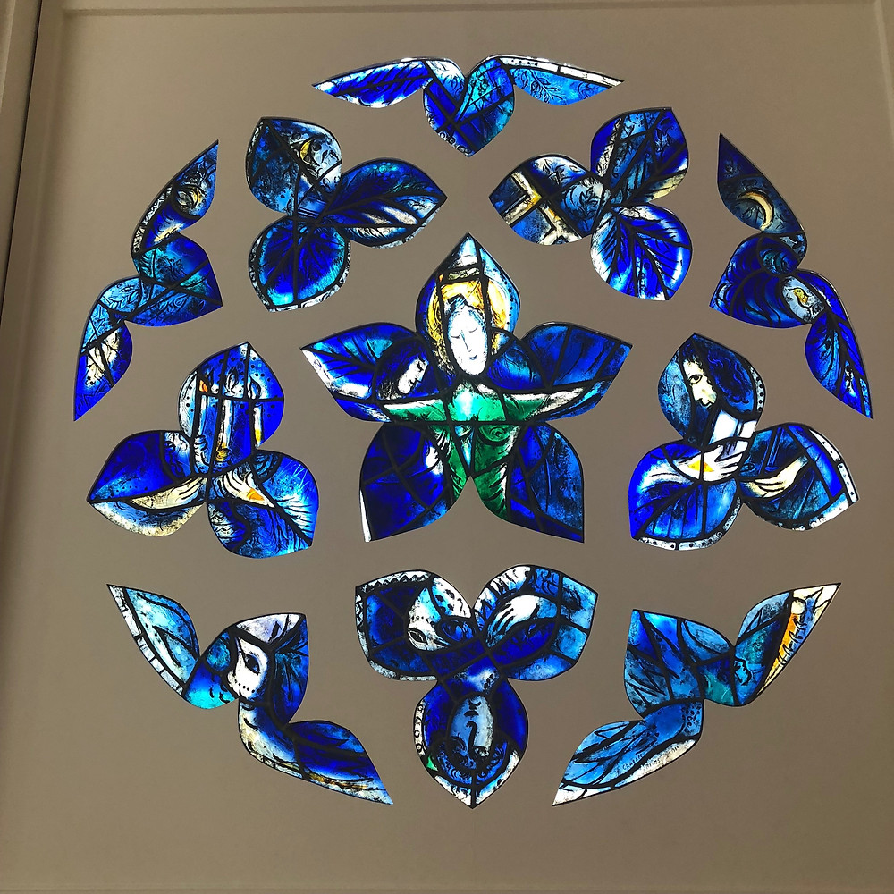 Stained glass by Chagall, called The Blue Rose