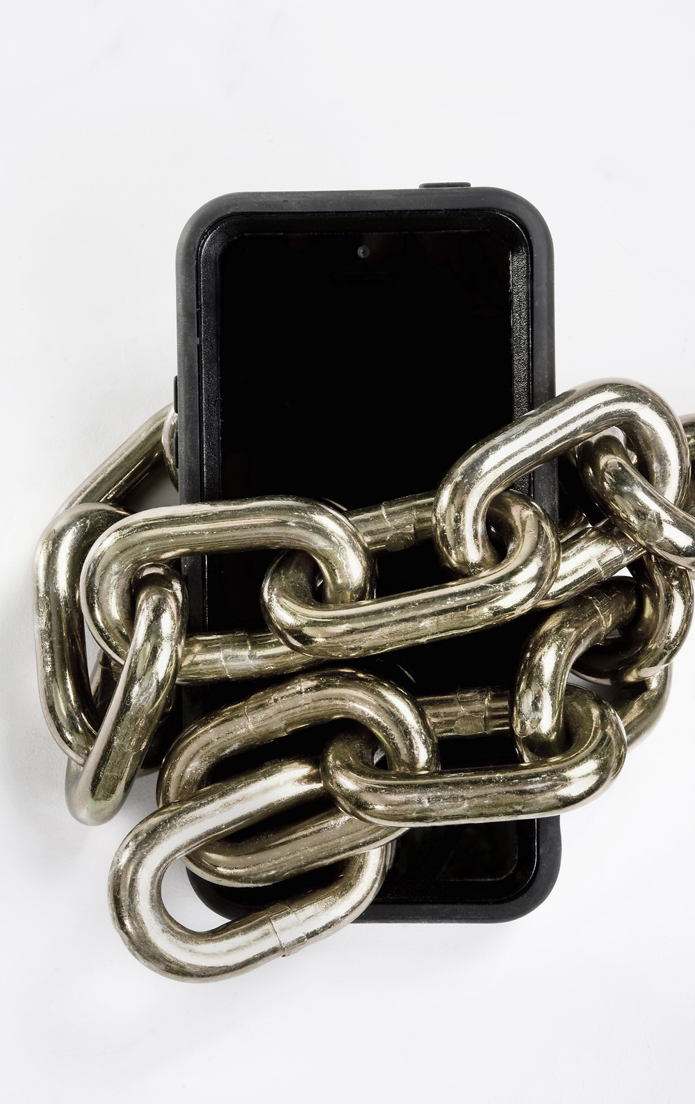 Cell phone wrapped in chain link