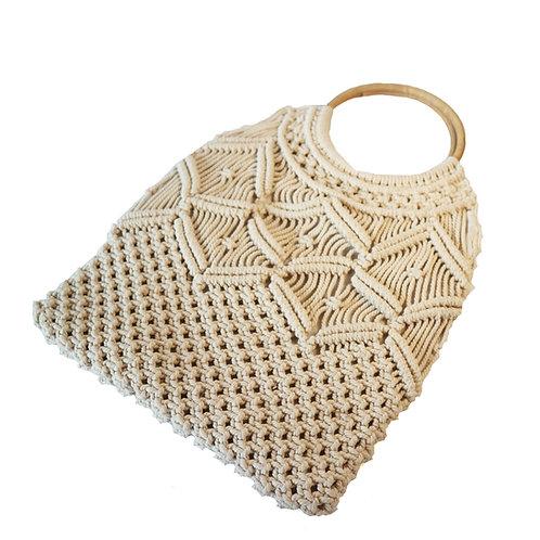 Macrame bag with round rattan handle