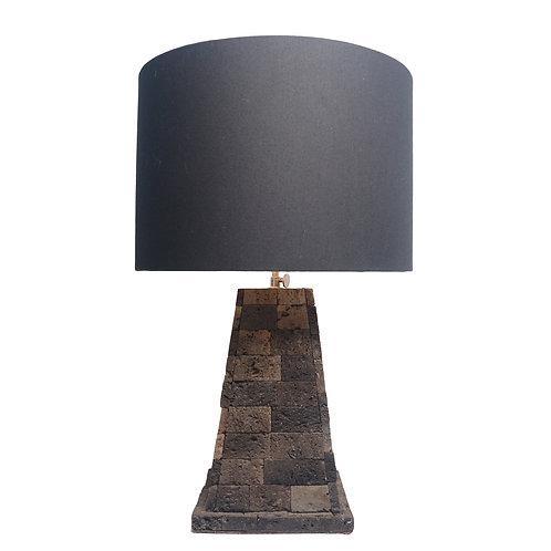 Stone Pyramid Table Lamp With Dark Cotton Shade