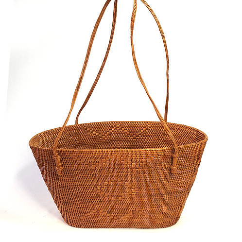 Rattan Bag Natural in trapezoidal with thin handle