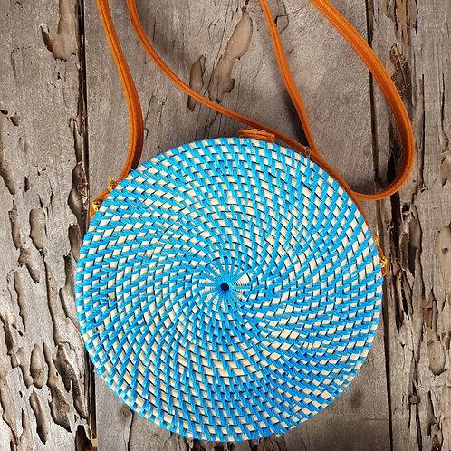 Rattan Bag Natural in blue color