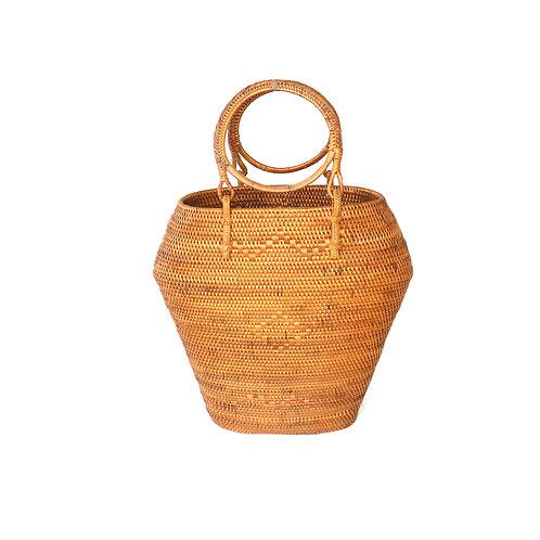 Rattan bag hexagon with round handles