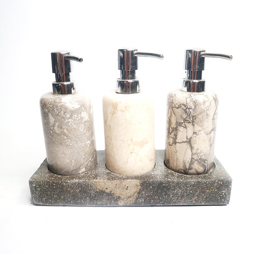 3 in 1 Dispenser Tray with Marble Motif