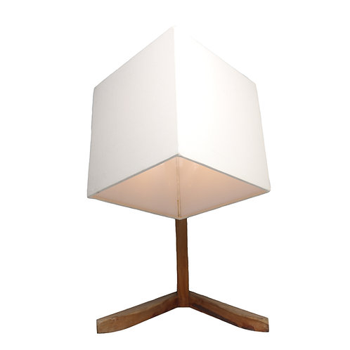 Triangle Teak Wood Table Lamp With Cotton Shade