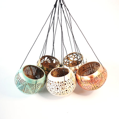 Coconut hanging candle holder