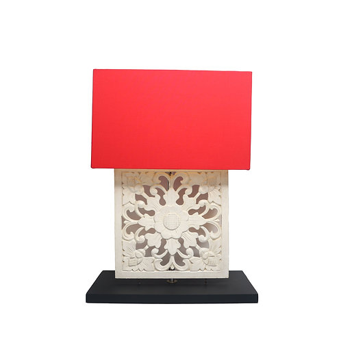 Wooden Sculpture Table Lamp With Cotton Shade