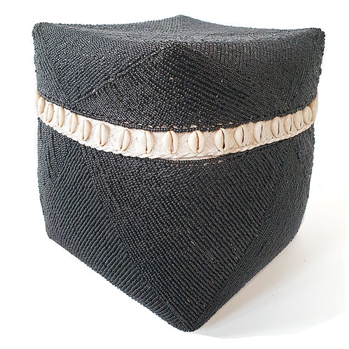 Basket With Black Bead and White Shells