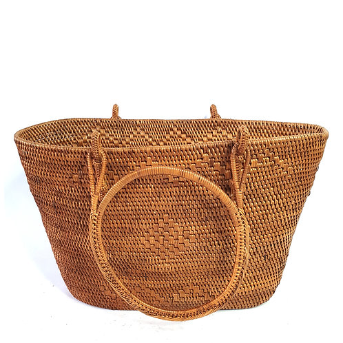 Rattan Bag Natural in trapezoidal with round handle