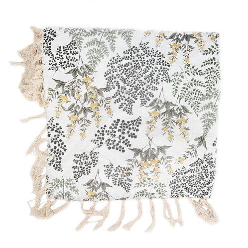 Linen Macrame Throw Blanket