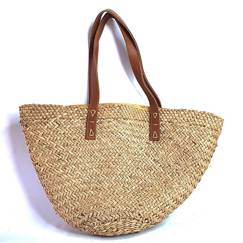 grass bag with synthetic leather handle