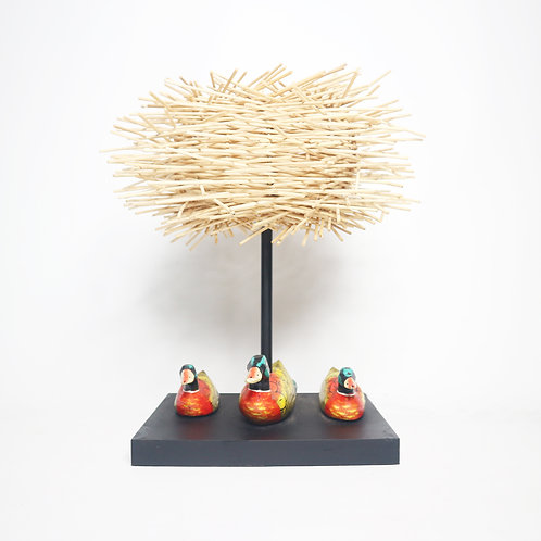 Ducks Family Table Lamp With Durian Rattan Shade
