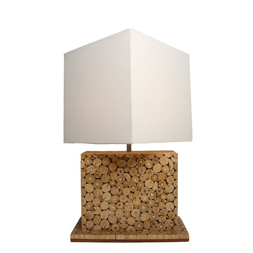 Square Coffee Table Lamp With Cotton Shade