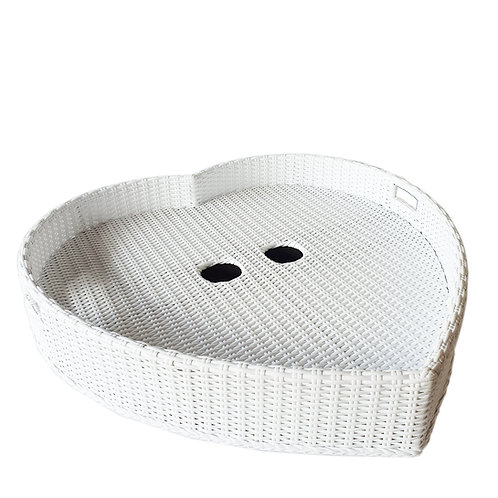 Floating tray heart shape with glass holes
