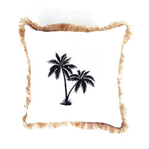 Twin Palm Hand Embroidered Pillow Case