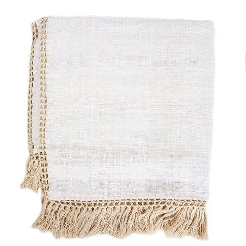 Cotton Throw with Crochet