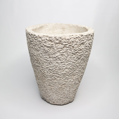 White Terrazzo Pot With Scratches Motif