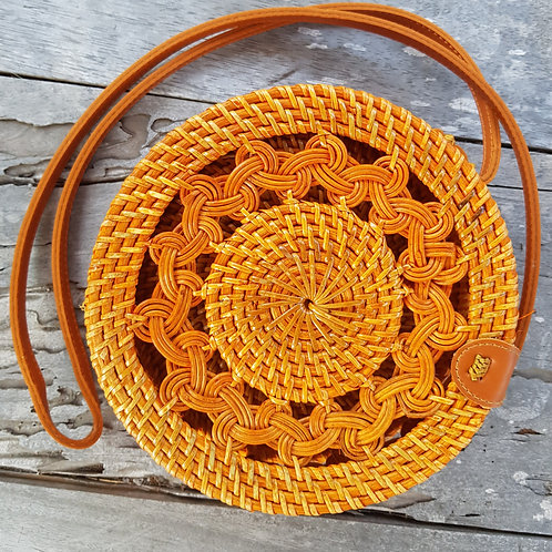 Rattan Bag Natural flower weaving in yellowish color