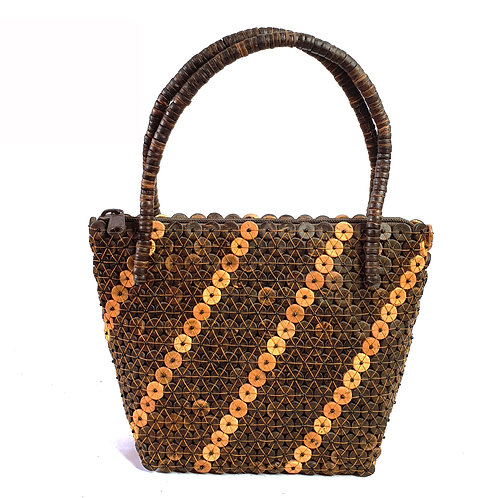 Wood bag with stripe pattern