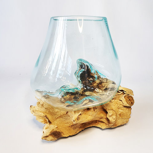 Glass aquarium melted on the wood #11