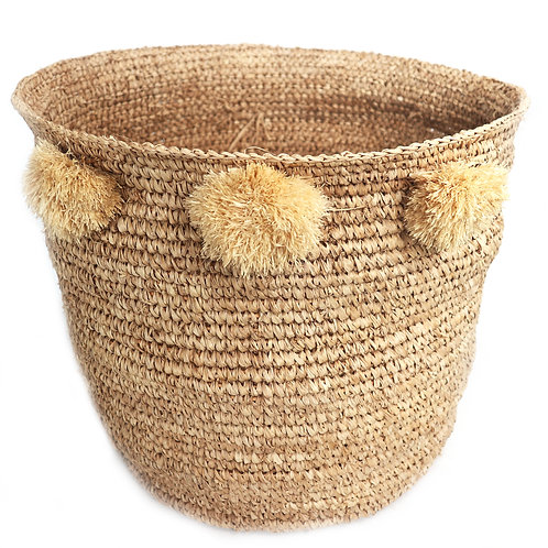 Natural Seagrass Baskets With Pompom