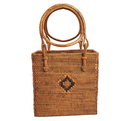 Rattan Bag Natural in rectangle with round handle